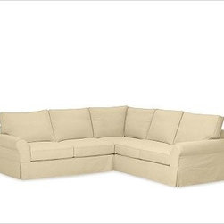 """PB Comfort Roll-Arm 3-Piece L Shaped Sectional Slipcovers, Brushed Canvas Honey - Designed exclusively for our PB Comfort Sectional, these soft, inviting slipcovers retain their smooth fit and remove easily for cleaning. Left 3-Piece Sectional with Box Cushions shown. Select """"Living Room"""" in our {{link path='http://potterybarn.icovia.com/icovia.aspx' class='popup' width='900' height='700'}}Room Planner{{/link}} to select a configuration that's ideal for your space. This item can also be customized with your choice of over {{link path='pages/popups/fab_leather_popup.html' class='popup' width='720' height='800'}}80 custom fabrics and colors{{/link}}. For details and pricing on custom fabrics, please call us at 1.800.840.3658 or click Live Help. All slipcover fabrics are hand selected for softness, quality and durability. Left-arm configuration is shown; also available in right-arm configuration. {{link path='pages/popups/sectionalsheet.html' class='popup' width='720' height='800'}}Left-arm or right-arm configuration{{/link}} is determined by the location of the arm on the love seat as you face the piece. This is a special-order item and ships directly from the manufacturer. To see fabrics available for Quick Ship and to view our order and return policy, click on the Shipping Info tab above. Watch a video about our exclusive {{link path='/stylehouse/videos/videos/pbq_v36_rel.html?cm_sp=Video_PIP-_-PBQUALITY-_-SUTTER_STREET' class='popup' width='950' height='300'}}North Carolina Furniture Workshop{{/link}}."""