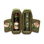 """Picnic Time - Estate Deluxe Wine Tote - Pine Green / Nouveau Grape - Sleek and sophisticated, the Estate deluxe wine tote features ThermoGuard insulation and has two compartments: one for a bottle of wine and the other to hold the amenities included. It's made of 600D polyester and features an adjustable shoulder strap that makes it easy to carry. The Estate includes: 2 wine glasses (acrylic, 8 oz.), 1 stainless steel waiter style corkscrew, 1 bottle stopper (nickel-plated), and 2 napkins (100% cotton, 14 x 14""""). The Estate deluxe wine tote is perfect for picnics, concerts, or travel and makes a wonderful gift for those who enjoy wine. Includes: 2 wine glasses (acrylic, 8 oz.), 1 stainless steel waiter style corkscrew, 1 bottle stopper (nickel-plated), and 2 napkins (100% cotton, 14 x 14"""", Nouveau Grapes design)"""