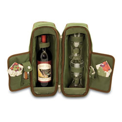 "Picnic Time - Estate Deluxe Wine Tote - Pine Green / Nouveau Grape - Sleek and sophisticated, the Estate deluxe wine tote features ThermoGuard insulation and has two compartments: one for a bottle of wine and the other to hold the amenities included. It's made of 600D polyester and features an adjustable shoulder strap that makes it easy to carry. The Estate includes: 2 wine glasses (acrylic, 8 oz.), 1 stainless steel waiter style corkscrew, 1 bottle stopper (nickel-plated), and 2 napkins (100% cotton, 14 x 14""). The Estate deluxe wine tote is perfect for picnics, concerts, or travel and makes a wonderful gift for those who enjoy wine. Includes: 2 wine glasses (acrylic, 8 oz.), 1 stainless steel waiter style corkscrew, 1 bottle stopper (nickel-plated), and 2 napkins (100% cotton, 14 x 14"", Nouveau Grapes design)"