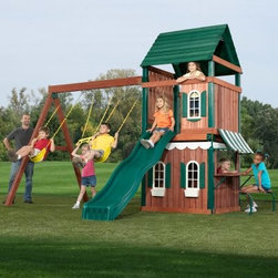 Swing-N-Slide Newport Wood Swing Set and Playhouse - Your kids will feel right at home with the Swing-N-Slide Newport Wood Swing Set and Playhouse! This swing set and playhouse combination set features all the play features you'd expect from a top-quality swing set plus a complete playhouse to encourage imaginative play. Included in this Swing-N-Slide Swing set and Playhouse is a deck measuring 4 feet a 16 square foot Tower with a decorative window an Angle entry rung ladder green stained wood roof 8 foot swing beam and A-frame 2 extra-duty swings the green Cool Wave Slide a playhouse picnic table awning 2 windows with shutters and two flower boxes! Whew that's a whole lotta fun! This product carries a 5-year warranty. This warranty is valid only if the product is used for the purpose for which it was designed and installed at a residential single family dwelling. Swing N Slide products are rated and tested for residential use only. Play features include: 16 sq. ft. tower with decorative window Angled entry ladder Green wave slide 2 extra-duty swings Extra-duty ring/trapeze combo Playhouse featuring 2 windows with shutters and flower boxes Picnic table with awning This swing set boasts a durable construction using only premium lumber including an 8-foot swing beam and sturdy A-frame design. Three pairs of extra-duty swing hangers are included. The playhouse roof and window trim feature an attractive green stain to match the Woodguard plastic. All lumber is treated to withstand the rigors of outdoor use.