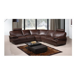 American Eagle Furniture - 8380 Brown Bonded Leather Sectional Sofa - The 8380 sectional sofa has a simple modern design that will be a great addition for any living room setting. This sofa comes upholstered in a stunning brown bonded leather on the front where your body touches. Carefully chosen match material is used on the back and sides where contact is minimal. High density foam is placed within the sectional for added comfort. The coffee table shown is NOT included.
