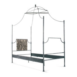 "Zentique - Zentique Dalton Bed - Dalton Bed by Zentique. Available in Twin, Queen and King Size.Metal: Rustique Metal w/ Chipped White PaintBottom of Bed to Floor: 9""Side Poles 64"""