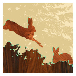 jefdesigns - Forest Critters Print - Bunny 1 - Your spirits will lift at the sight of this bounding bunny as it leaps across the screen of this colorful print. Digitally enhanced with wood grain, the pale silhouette of the background forest will also catch your eye. A limited edition by Joe Futschik, this six-by six-piece of artwork is ready to hang and enriched by a UV coating.