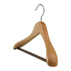 "Richards Homewares - Deluxe Natural Wood Suit Hanger - Premium 18"" wood hanger with a smooth blonde finish and polished chrome hook. Generously sized with 2'' thick, broad, sculpted shoulders to preserve your suit's shape. Ribbed rubberized bar keeps trousers securely in place.Standard size for men and women."