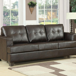 None - Diamond Brown Bonded Leather Sleeper - Give your family and guests a comfortable place to watch TV or sleep with this brown leather sleeper. This sofa quickly and easily converts into a queen-size bed for overnight guests, and the lovely leather material adds a touch of sophistication.