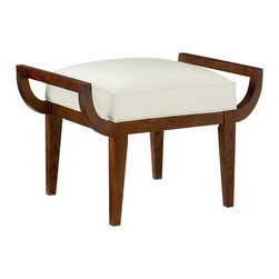 """CR Laine - Trey Ottoman - The Trey ottoman rises with mid-century modern influence. A clean-lined wooden frame curves in retro refinement, while a crisp cushion offers contemporary comfort. Shown in Berkin Snow; Available in a variety of fabric and finish options; Hand crafted in the USA using sustainable materials; Kiln-dried frames made from responsibly harvested hardwood; Water-based wood adhesive with no VOC emissions; Seat deck and trim pad made from 80% regenerated fibers; Cushion cores made from at least 10% natural plant-based ingredients; 31""""W x 21""""D x 21.5""""H"""