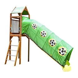 Kidwise Outdoor Products Inc - FantaSlides Soccer Star Slide Cover Multicolor - KW-FSC-141-10 - Shop for Swings Slides and Gyms from Hayneedle.com! Additional FeaturesIncludes instructions and hardwareFits 8ft 10ft 12ft and larger slidesOne year limited warrantyQuickly and easily turn your child's slide into a tunnel that will take them on many adventures with the FantaSlides Soccer Star Slide Cover. With a soccer ball design on a green background that your soccer star is sure to love this slide cover is made to mount directly to the slide and play set and is UV treated and flame retardant. Crafted to fit on 8-foot 10-foot 12-foot and larger slides this tunnel includes assembly instructions hardware and has a one year limited warranty.About Kidwise ProductsThis item is made by Kidwise Outdoors a company whose focus is safe fun excitement for kids. Kidwise strives to promote safe play for kids of all ages through outside activities. Their line of products includes swing sets trampolines inflatable bouncers bikes sport goals and many other items to choose from. Kidwise guarantees all of their products against defects. Like Hayneedle their goal is 100% satisfaction from customers. Their product lines focus on kid-friendly items that are fun to play with and stimulate balance and a healthy lifestyle for kids.