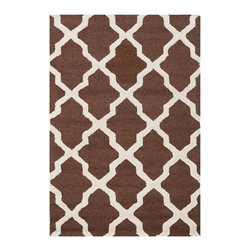 """Safavieh - Tala Hand Tufted Rug, Dark Brown / Ivory 2'6"""" X 4' - Construction Method: Hand Tufted. Country of Origin: India. Care Instructions: Vacuum Regularly To Prevent Dust And Crumbs From Settling Into The Roots Of The Fibers. Avoid Direct And Continuous Exposure To Sunlight. Use Rug Protectors Under The Legs Of Heavy Furniture To Avoid Flattening Piles. Do Not Pull Loose Ends; Clip Them With Scissors To Remove. Turn Carpet Occasionally To Equalize Wear. Remove Spills Immediately. Update your living room, bedroom or entry hall with a beautifully textured Askot area rug featuring an over-scaled Moroccan motif that has graced beautified artisan tile floors for centuries. Hand-tufted of superior wool pile and crafted to endure, this simple but striking rug contrasts plush and pile textures for rich dimension."""