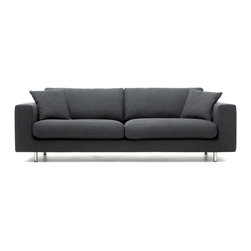 """Bensen - Wide Arm 93"""" Sofa (3 Seater) - The Wide Arm collection is a Bensen classic due to its straightforward proportions, low profile and restrained appearance. The Wide Arm offers softer seat cushions, toss cushions and broader arms for lounging."""