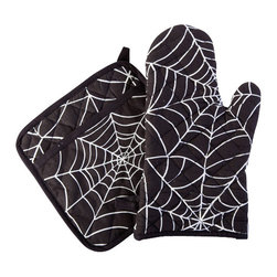 Sin in Linen - Spider Web Oven Mitt and Potholder Set - Food is the way to a persons heard and these webs will keep them there. Ensnare your guests with spider web kitchen linens.