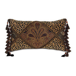 """Frontgate - Guinart 22"""" x 13"""" Decorative Pillow - From Eastern Accents Marquise collection. 22"""" x 13"""", 14"""" sq., 19"""" x 15"""".. Dry clean only recommended. Because this bedding is specially made to order, please allow 4-6 weeks for delivery.. Our gorgeous Guinart Bedding Collection is a perfectly balanced blend of Old World traditions and New World styles. Paisleys, leopard prints, florals, and stripes in magnificent shades of gold, black, blue, and rust are elaborately finished and layered with details like handmade fabric covered buttons.  .  .  . . Made in USA of imported goods. Part of the Guinart Bedding Collection."""