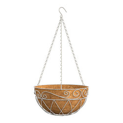 Panacea Products - 14'' Distressed White French Country Scroll Basket - Display your gorgeous plants with this hanging basket that offers a sturdy steel construction and a coco liner for cultivating lush, hearty blooms.   Includes planter and coco liner 14'' W x 14'' H x 7'' D Steel Imported