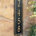 """Ballard Designs - Beaded Vertical Wall Sign - Hand crafted of cast aluminum and finished with weather-resistant paint to last the life of your home. Antique gold lettering with black background. Specify up to four 3"""" characters. *Please note personalized items are non-returnable and non-cancelable."""