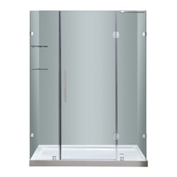 """Aston - Aston 60x77.5, Completely Frameless Hinge Shower Door, Stainless, Right Base - Instantly transform your existing shower alcove space and upgrade your bath's design with the SDR983 60"""" Completely Frameless Hinge Shower Door. Constructed of durable 6mm ANSI-certified tempered clear glass and chrome or stainless steel finish hardware, you can achieve a custom-look in your bath. Deluxe clear seal strips prevent leakage which allows for this completely frameless design. The SDR983 also includes two interior glass shelves designed with convenience and functionality in mind. This model is configured for reversible left or right hand door installation and can be paired with an optional left, center or right configured 2.5"""" low profile acrylic fiberglass enforced base."""