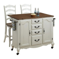 HomeStyles - Oak and Rubbed White Kitchen Cart and Two Sto - The Kitchen Cart and Two Stools are constructed of hardwood solids and engineered wood in a distressed oak and heavily rubbed white finish. The distressed oak features several distressing techniques such as worm holes, fly specking, and small indentations. Cart features include two large cabinet doors with adjustable shelving, four storage drawers, two towel racks, and four casters (two locking). Design features include shaped carved proud legs, and detailed brass hardware. The drop leaf breakfast bar extends the depth by 29.75 inches. Bar stool features include metal foot rest. Seat height measures 24 inches high. Assembly required. Kitchen Cart size: 44.5 in. W x 18.75 in. D x 36 in. H. Stool size: 18.75 in. W x 21.5 in. D x 46 in. H