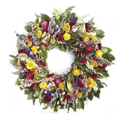 Frontgate - Strawflower Wreath - Made with all natural materials. Hand assembled. Perfect for the kitchen, bedroom, or dining room. With all the colors of an English cottage garden, this Strawflower Wreath brightens your country home. The vivid hues and lovely dried florals of this wreath include natural salal, globe amaranth, artemesia, mountain fern, larkspur, and strawflower.  .  .  . Made for use indoors for longer life, but can be used in sheltered areas.