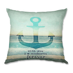 DiaNoche Designs - Pillow Linen - Monika Strigel With You I'm Anchored Forever - Add a little texture and style to your decor with our Woven Linen throw pillows. The material has a smooth boxy weave and each pillow is machine loomed, then printed and sewn in the USA.  100% smooth poly with cushy supportive pillow insert with a hidden zip closure. Dye Sublimation printing adheres the ink to the material for long life and durability. Double Sided Print, machine wash upon arrival for maximum softness. Product may vary slightly from image.