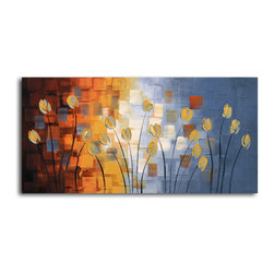 """Omax Decor - Tendrils of Tulips Hand painted oil canvas - Overall size: 20"""" x 40"""". Enjoy a 100% Hand Painted Wall Art made with oil paints on canvas stretched over a 1"""" thick wooden frame. The painting is professionally hand-stretched and ready to hang out of the box. With each purchase of our art you receive a one of a kind piece due to the handcrafted nature of the product."""