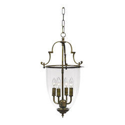 """Crystorama - Camden Collection 22 1/4"""" High Bell Jar Lantern Chandelier - With a subtle presence this lantern is just lovely with traditional style and a dignified appearance. The autumn brass look is matched with graceful accents and a chain pendant. Antique brass finish. Bell jar glass. Takes four 60 watt candelabra style bulbs (not included). 12 3/4"""" wide. 22 1/4"""" high.  Antique brass finish.  Bell jar glass.  Takes four 60 watt candelabra style bulbs (not included).  12 3/4"""" wide.  22 1/4"""" high."""