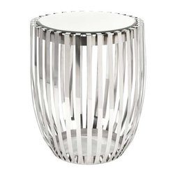 Xanthia Steel and Mirror Accent Table - Clean, polished steel ribs form the body of this drum style table with mirrored top. Very simple and sophisticated, this table will glide right into your contemporary room design.