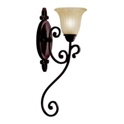 Kichler - Wilton Wall Sconce by Kichler - A beautiful example of fine Tuscan inspired lighting, the Kichler Lighting Wilton Wall Sconce sets a new standard for quality and attention to detail with intricate scrollwork and tulip-shaped glass. Featuring the warmth of an Antique Barley glass shade and rich Carre Bronze finish, this sconce offers the perfect Italian touch to bathrooms and hallways.Since 1938, Cleveland-based Kichler Lighting has created exceptional lighting in a variety of styles, finishes, colors and designs. With a diverse collection of indoor and outdoor lighting in classic and contemporary styles, Kichler Lighting always focuses on making home lighting that is both beautiful and functional.The Kichler Lighting Wilton Wall Sconce is available with the following:Details: