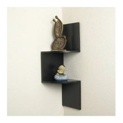 "DanyaB - Corner Shelf - Features: -Decorative wall mount.-Dark brown finish.-Product Type: Corner shelves.-Style: Modern.-Shape: Zig-zag.-Finish: Walnut.-Distressed: No.-Powder Coated Finish: No.-Gloss Finish: No.-Frame Material: Manufactured wood -Frame Material Details: MDF and Laminate..-Number of Items Included: 1.-Solid Wood Construction: No.-Reclaimed Wood: No.-Non Toxic: Yes.-Water Resistant: No.-Weather Resistant: No.-Scratch Resistant: No.-Stain Resistant: No.-Fire Resistant: No.-Number of Shelves: 2.-Adjustable Shelves: No.-Shelf Material: Manufactured wood -Shelf Material Details: MDF & Laminate..-Slatted Shelves: No.-Room Use: Bathroom; Bedroom; Living room; Dining room; Hallway.-Wall Mounted: Yes -Bracketless: Yes..-Free Standing: No.-Finished Back: No.-Stackable: No.-Hooks: No.-Drawers: No.-Cabinet/Storage Box: No.-Storage Baskets Included: No.-Outdoor Use: No.-Commercial Use: No.-Recycled Content: No.-Eco-Friendly: No.-Product Care: Wipe clean.Specifications: -Lacey Act Compliant: Yes.-ANSI BIFMA Compliant: Yes.-ASTM Compliant: Yes.-CARB Compliant: Yes.-CPSIA or CPSC Compliant: Yes.-CSA Certified: No.-EPP Compliant: No.-fiRA Certified: No.-FSC Certified: No.-General Conformity Certificate: No.-Greenguard Certified: No.-ISTA 3A Certified: No.-ITTO Compliant: No.-SFI Certified: No.-EPA/CPG Compliant: No.Dimensions: -Overall Height - Top to Bottom: 20"".-Overall Width - Side to Side: 6.5"".-Overall Depth - Front to Back: 6.5"".-Overall Product Weight: 2 lbs.Assembly: -Assembly Required: Yes.-Tools Needed: Screwdriver.-Additional Parts Required: No."
