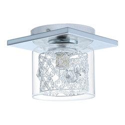EGLO - Eglo 91732 Chrome 1X60W Ceiling Light, Clear Glass, Spiral Chrome Cage - EGLO 91732 Chrome 1x60W Ceiling Light, Clear Glass, Spiral Chrome Cage & Clear Crystals