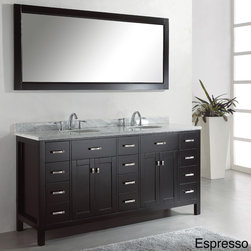 VIRTU - Virtu USA Caroline Parkway 72-inch Double Sink Bathroom Vanity Set - The Caroline Parkway 72-inch Double sink vanity set is equipped with four soft closing doors, twelve soft closing drawers, a gorgeous Italian Carrara white marble countertop and two pre-drilled widespread faucet mounts.