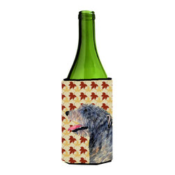 Caroline's Treasures - Irish Wolfhound Fall Leaves Portrait Wine Bottle Koozie Hugger - Irish Wolfhound Fall Leaves Portrait Wine Bottle Koozie Hugger Fits 750 ml. wine or other beverage bottles. Fits 24 oz. cans or pint bottles. Great collapsible koozie for large cans of beer, Energy Drinks or large Iced Tea beverages. Great to keep track of your beverage and add a bit of flair to a gathering. Wash the hugger in your washing machine. Design will not come off.