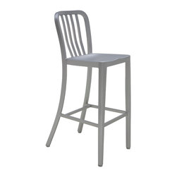 Nuevo Living - Soho Aluminum Bar Stool by Nuevo - HGGA162 - Originally, the Aluminum bar stool is inspired by 1940s designs created and implemented for the US Navy's rigorous utilitarian requirements, the Aluminum series features a timeless design making it as functional and stylish in the modern home as it was in the military institution 60 years ago. Its construction is durable yet lightweight, corrosion-resistant, and surprisingly comfortable with its curved seat, designed to accommodate long hours of use without physical strain.