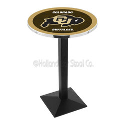 Holland Bar Stool - Holland Bar Stool L217 - Black Wrinkle Colorado Pub Table - L217 - Black Wrinkle Colorado Pub Table belongs to College Collection by Holland Bar Stool Made for the ultimate sports fan, impress your buddies with this knockout from Holland Bar Stool. This L217 Colorado table with square base provides a commercial quality piece to for your Man Cave. You can't find a higher quality logo table on the market. The plating grade steel used to build the frame ensures it will withstand the abuse of the rowdiest of friends for years to come. The structure is powder-coated black wrinkle to ensure a rich, sleek, long lasting finish. If you're finishing your bar or game room, do it right with a table from Holland Bar Stool. Pub Table (1)