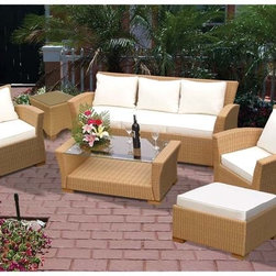 Fifthroom - Honey Wicker Square Back 6 Piece Deep Seat Patio Set -