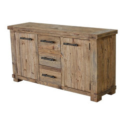 CDI International Furniture - Country Large Buffet Cabinet - Weathered Pine - BU1267WP - Shop for Buffets and Side Boards from Hayneedle.com! Hand-hewn for rustic appeal the Country Large Buffet Cabinet - Weathered Pine looks like a family heirloom. It's built of recycled and reclaimed woods. A physically distressed weathered pine finish enhances the look. Stay tidy by using the three central drawers. The two cupboard doors open to reveal a shelf behind each. Black metal stick hardware continues the style.About CDI InternationalCDI International is based in Montreal Canada's fashion capital. They adore home furnishings that embody high fashion and are made of the finest materials. CDI International is one of the most reputable home furnishing suppliers in the market. They strive to provide customers with well-designed quality products at a fair price. CDI International prides itself on staying on the cutting edge of design trends. Their designers travel the world to see first-hand the materials and trends around the globe.Not just impeccably crafted and stylish home goods and furniture CDI International also strives to be environmentally responsible. They work to reduce their ecological footprint. Their goal is to offer designer sofas with a simple manufacturing process that is also eco-friendly. They encourage their factories and transportation services to maintain the highest standards of green environmental living.