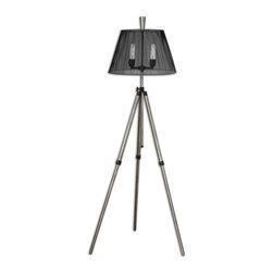 """Uttermost - Uttermost Armada Tripod Floor Lamp 28463 - Rust silver with antiqued black details. The center vertical base can be adjusted in height up to 70""""� tall. The round, tapered metal shade is a black metal cage. 60 watt antique style bulb included."""