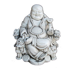 Golden Lotus - Sitting Ru-Yi Happy Buddha Unique Chinese High Quality Porcelain Statue - This is a Chinese white  Sitting happy Buddha statue which is made of porcelain.  The Buddha is sitting at a dragon head arm chair, his left hand holds  a Chinese Ru-Yi, and his foot steps on Chinese old coins.  This statue could be a nice gift and he will bring good luck and fortune to you.