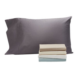 """Coyuchi - Sateen Pillowcase - Set of 2, Wheat, Standard/Queen - Lustrous on one side, slightly matte on the other, our organic cotton sateen is loomed to a 300-thread count in a buttery sateen weave that resists wrinkling. An elegant 7"""" attached hem finishes the flat sheet and pillowcases, while the fitted sheet has a deep 15"""" pocket and full elastic for an easy fit on plush mattresses."""
