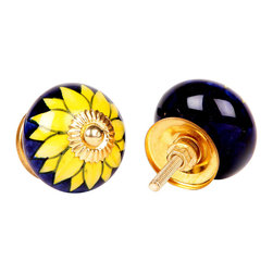 MarktSq - Ceramic Knob (Set of 4) - Beautifully painted bright yellow flower on a dark blue background and golden hardware.