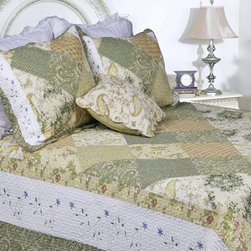 None - Laura Patchwork Quilt Set - Floral patchwork in hues of sage green,taupe and pink highlight this Laura quilt set. A white border with floral embroidery frames this lovely quilt,made of pre-washed and pre-shrunk cotton.