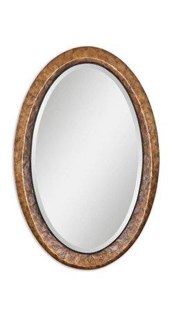 Uttermost - Capiz Oval Vanity Mirror - Heavily Antiqued Dark Capiz Shell With Metal Rope Details. Mirror Has A Generous 1 1/4 in.  Bevel.