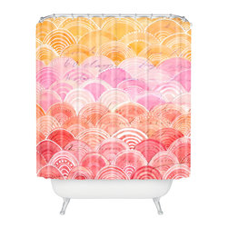 DENY Designs - Cori Dantini Warm Spectrum Rainbow Shower Curtain - Who says bathrooms can't be fun? To get the most bang for your buck, start with an artistic, inventive shower curtain. We've got endless options that will really make your bathroom pop. Heck, your guests may start spending a little extra time in there because of it!