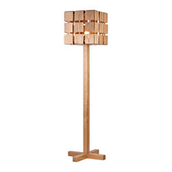 Rustic Wood Magic Cube Floor Standing Lamp - A large number of people are particularly fond of wooden lamps, the popularity of this type of lamp lie in its eco-friendly material, fine craftsmanship and creative design. This eye-catching floor lamp has unique design and natural wood texture color, making you feel quite close to nature. Suitable for placing in reading rooms, living rooms and bedrooms.