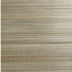 Hiromi Light Brown Grasscloth Wallpaper - Blanched taupe brown bamboo stalks are woven above a chic black mat in this intriguing natural grasscloth wallpaper.