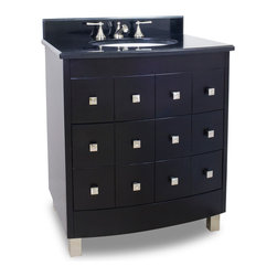 "Hardware Resources - Lyn Design Bathroom Vanity - Espresso Chelsea Metro Vanity with preassembled top and bowl by Lyn Design. This 31-1/2"" wide solid wood vanity features geometric drawer fronts and square satin nickel hardware to add depth to this modern chest, yet the warm espresso finish allows this vanity to also fit with traditional decor. A fully functional middle drawer, fitted around plumbing, and a full bottom drawer, both equipped with full extension slides, provide plenty of storage. This vanity has a 2.5 cm black granite top preassembled with an H8810WH (17"" x 14"") bowl, cut for 8"" faucet spread, and corresponding 2 cm x 4"" tall backsplash. Vanity: 31-1/2"" x 24-1/4"" x 36"" (with top), Style: Transitional, Finish: Espresso, Materials: Birch solids and veneers, Top: 2.5 cm black granite with 2 cm x 4"" tall backsplash, Bowl: H8810W, Coordinating Mirror: MIR076, Faucet must be purchased separately.."