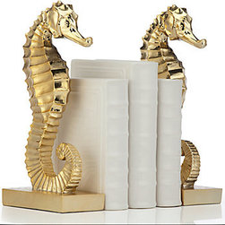 Seahorse Bookends, Set of 2 - These practical bookends featuring one of my favorite sea creatures are fun and chic.
