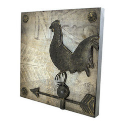 Square Metal Wall Plaque with Chicken Weathervane - This decorative metal wall plaque adds a unique accent to your home decor. It measures 14 inches tall, 14 inches wide, 1 1/4 inches thick, and features a chicken weathervane in the center. It easily mounts to the wall with 2 nails or screws, and makes a great gift for friends and family.
