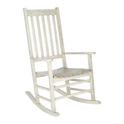 Safavieh - Safavieh Shasta White Wash Acacia Wood Rocking Chair - A country porch classic,the charming Shasta rocking chair is a perennial favorite in homes across America.