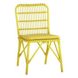 Kruger Sulfur Dining Chair with Sunbrella® Sulfur Cushion - Safari casual tracks contemporary in bamboo-inspired lattice design handwoven of bright sulfur yellow resin wicker over powdercoated aluminum. Lightweight chair is perfectly scaled for small sunrooms, patios or porches. Easy-care Sunbrella® acrylic matching cushion is fade-, water- and mildew-resistant.
