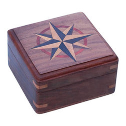 Large Hardwood Case w/ Hand Inlaid Compass Rose - The Large Hardwood Case with Hand Inlaid Compass Rose is 2 1/4inches (5.8cm) tall with the lid closed, 3 7/8 inches (9.8 cm) square, and weighs 7.5 ounces (213 grams).  This Large Hardwood Case with Hand Inlaid Compass Rose makes a beautiful storage or display case for jewelry, watches, collectable coins, or many of our fine nautical items.