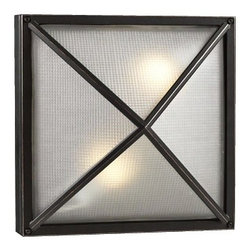 "PLC - Deco Square Bronze 12 1/2"" Wide Outdoor Wall Light - A sophisticated finish and appealing good-looks distinguish this contemporary outdoor wall light. This piece starts with die-cast aluminum construction and is presented in an architectural bronze finish. Two fixtures glow brightly behind gorgeous textured glass providing warm illumination. This sleek design can be mounted on the wall or ceiling and on a bias for diamond shape. Die-cast aluminum construction. Architectural bronze finish. Textured glass. Rated for wet locations. Takes two 60 watt bulbs (not included). 12 1/2"" square. Extends 6"" from the wall.  Die-cast aluminum construction.   Architectural bronze finish.   Textured glass.   Damp location rated only.  Takes two 60 watt bulbs (not included).   12 1/2"" square.   Extends 6"" from the wall."