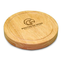 "Picnic Time - University of Southern Mississippi Circo Cheese Board - The Circo by Picnic Time is so compact and convenient, you'll wonder how you ever got by without it! This 10.2"" (diameter) x 1.6"" circular chopping board is made of eco-friendly rubberwood, a hardwood known for its rich grain and durability. The board swivels open to reveal four stainless steel cheese tools with rubberwood handles. The tools include: 1 cheese cleaver (for crumbly cheeses), 1 cheese plane (for semi-hard to hard cheese slices), 1 fork-tipped cheese knife, and 1 hard cheese knife/spreader. The board has over 82 square inches of cutting surface and features recessed moat along the board's edge to catch cheese brine or juice from cut fruit. The Circo makes a thoughtful gift for any cheese connoisseur!; College Name: University of Southern Mississippi; Mascot: Golden Eagles; Decoration: Laser Engraving; Includes: 1 Hard cheese knife, 1 Cheese shaver, 1 Fork-tipped cheese knife, 1 Cheese spreader"